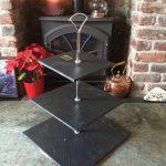 square slate cake stand