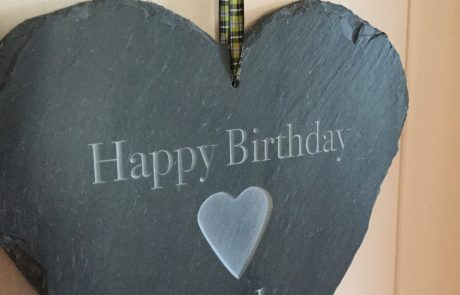 engraved hand cut cornish slate heart