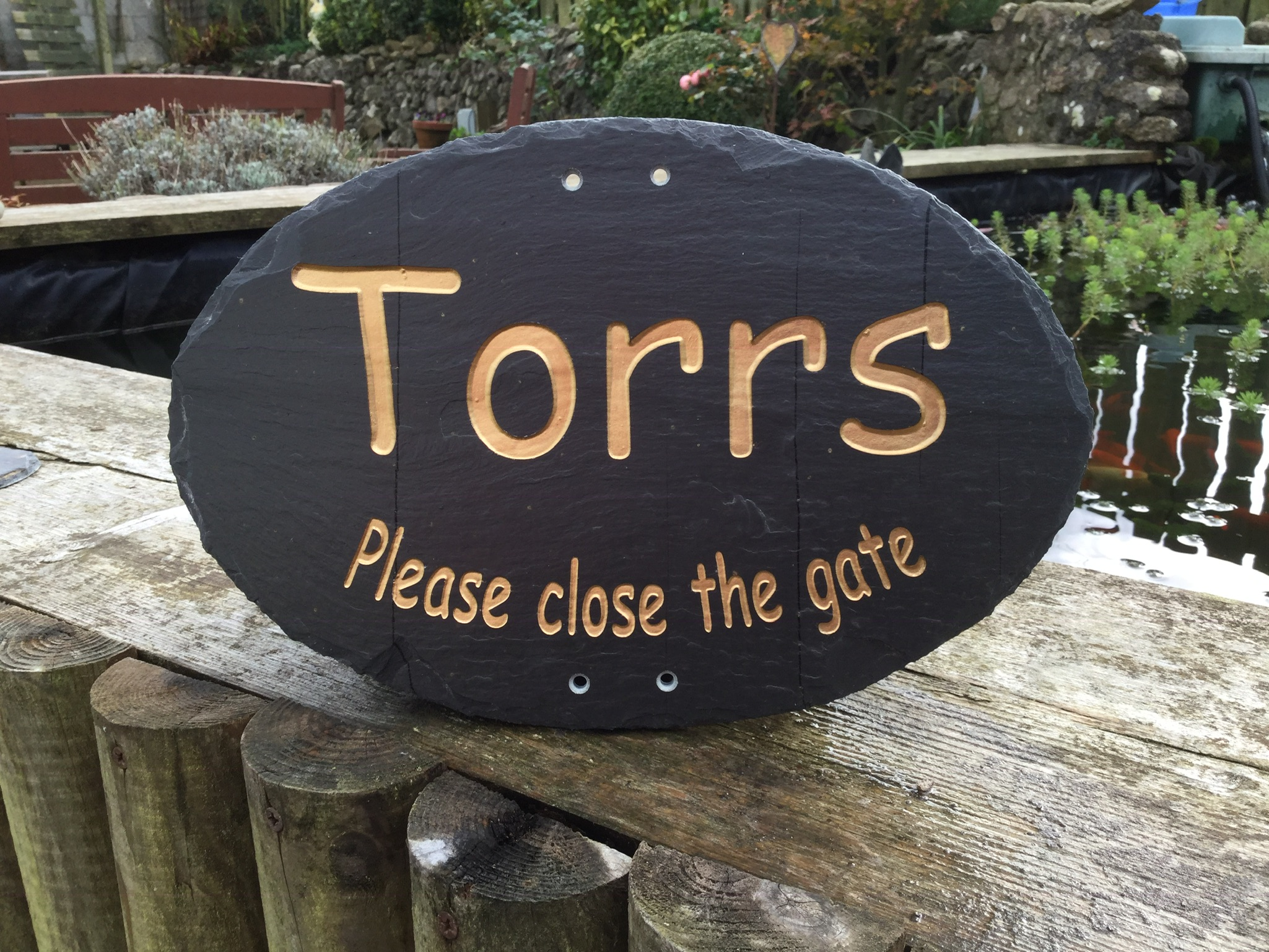 hand cut riven cornish slate house sign