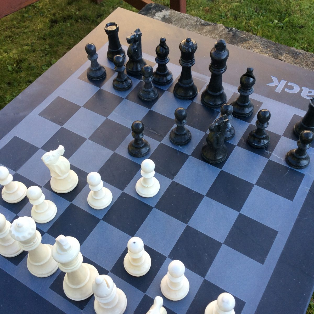 cornish slate chess board and chess set